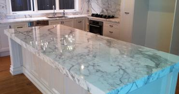 Newly installedmarble kitchen top areas sealed by Stonecare NZ